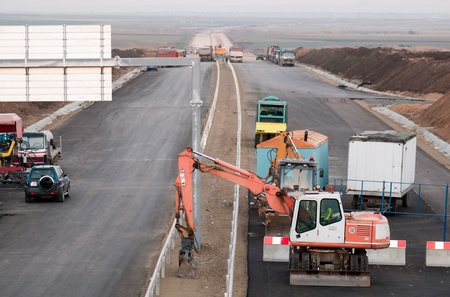 Support activities for the construction of roads and highways. Road under construction.