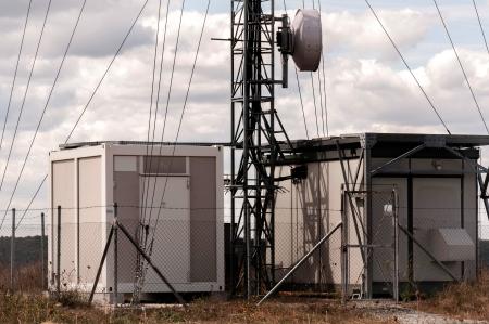 Telecommunication station equipment, antennas Stock Photo