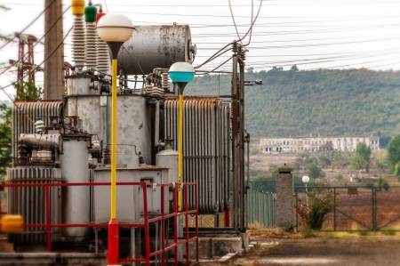 Transformers for electricity distribution Stock Photo