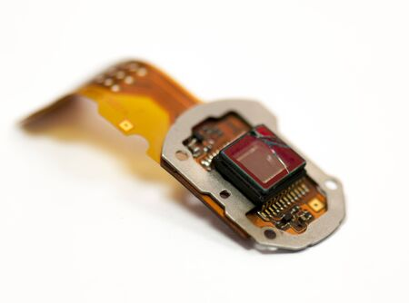 one broken sensor camera isolated on white background