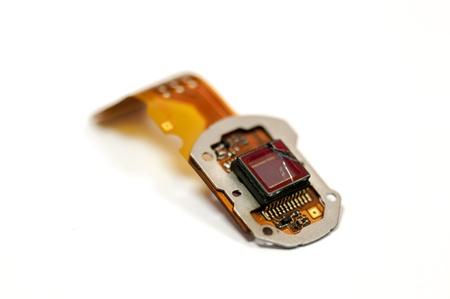 one broken sensor camera isolated on white background photo