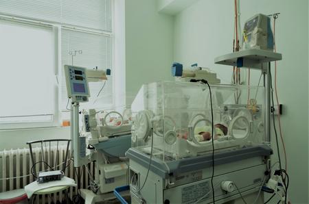 Newborn baby in hospital. Stock Photo