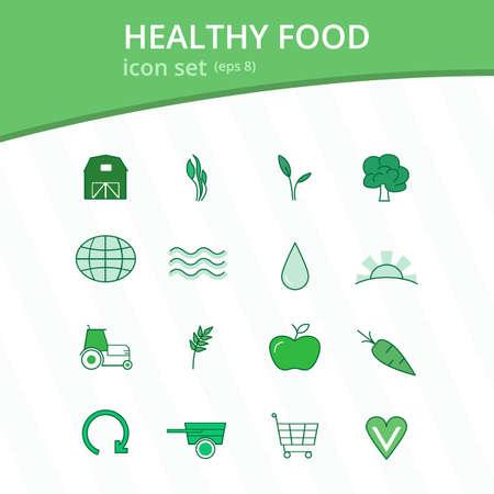 monotone: Healthy food monotone icon set