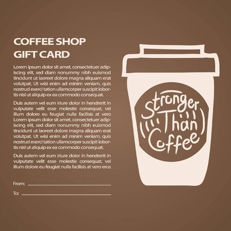 Stronger than coffee brown gift card calligraphy motivation quote. Coffee shop lifestyle lettering typography promotion. Mug sketch graphic design and hot drinks lovers print shopping inspiration  イラスト・ベクター素材