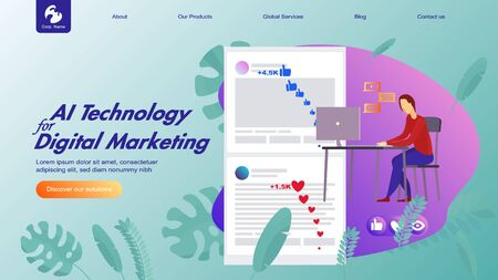 Creative website design template: artificial intelligence for project management, business communication, workflow. Vector flat illustration concepts of web page for desktop and mobile development