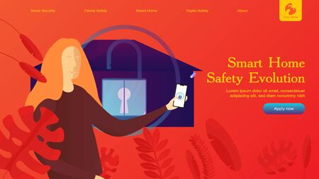 Creative website design template: smart home security, remote wireless house control. Vector flat illustration concepts of web page for desktop and mobile development or poster banner layout