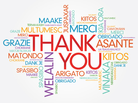 Thank You Word Cloud vector background, all languages Vectores