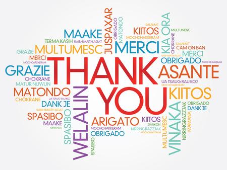 you: Merci Word Cloud vecteur de fond, toutes les langues Illustration