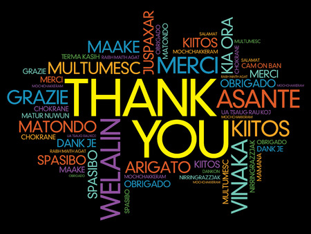 metadata: Thank You Word Cloud vector background, all languages Illustration