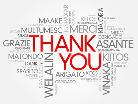 Thank You Word Cloud vector background, all languages Ilustracja