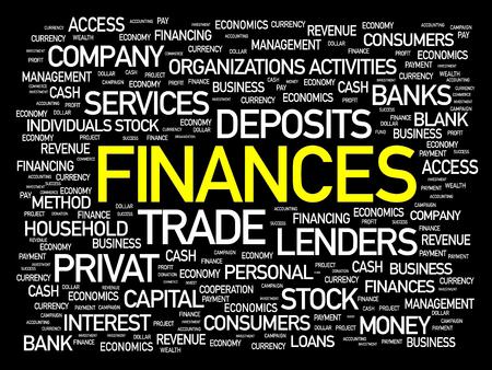 Finances word cloud, business concept