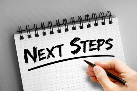 Text note - Next Steps, health concept on notepad Stock Photo