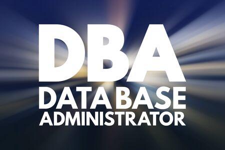 DBA - Database Administrator, acronym technology concept background