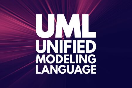 UML - Unified Modeling Language acronym, technology concept background