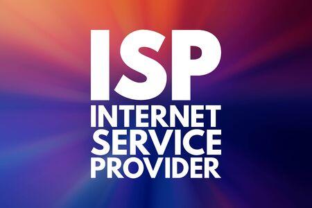 ISP - Internet Service Provider acronym, technology concept background Foto de archivo