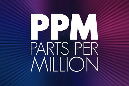 PPM - Parts Per Million acronym, medical concept background