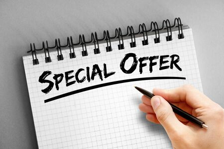 Special Offer text, business concept background