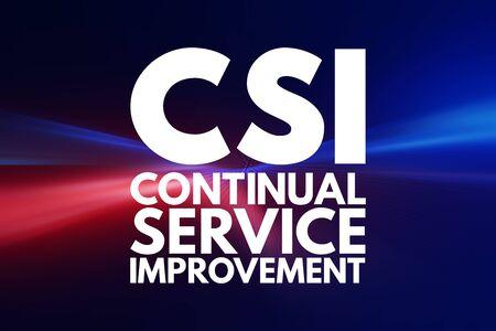 CSI - Continual Service Improvement acronym, business concept background