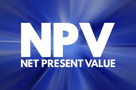 NPV - Net Present Value acronym, business concept background Imagens