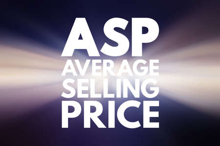 ASP - Average Selling Price acronym, business concept background Фото со стока