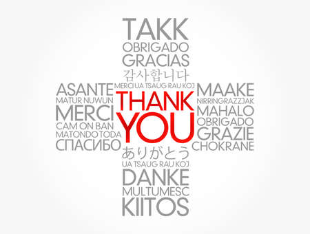Thank You cross word cloud in different languages of the world, concept background Banque d'images