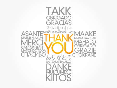 Thank You cross word cloud in different languages of the world, concept background
