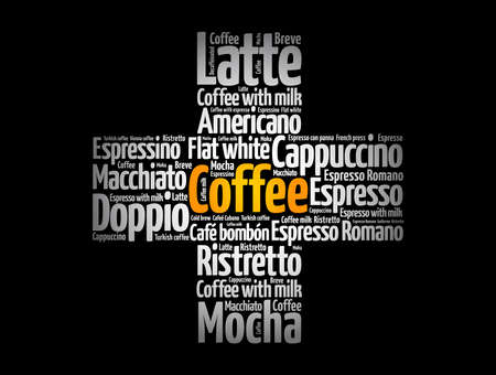 Coffee drinks cross word cloud, concept background