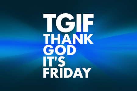 TGIF - Thank God It's Friday acronym, concept background Banco de Imagens