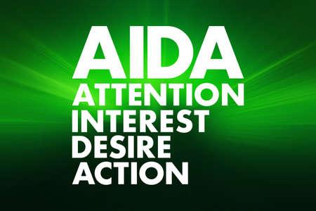 AIDA - Attention Interest Desire Action acronym, concept background