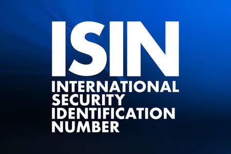 ISIN - International Security Identification Number acronym, business concept background Reklamní fotografie