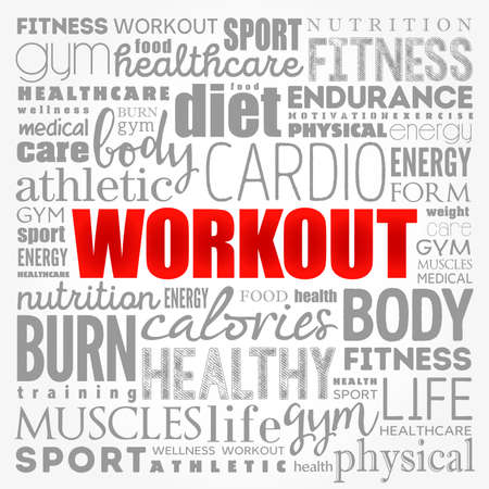 WORKOUT word cloud collage, fitness, health concept background