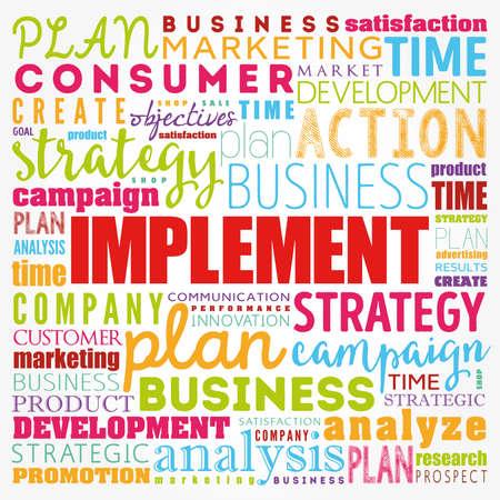 Implement word cloud collage, business concept background Standard-Bild