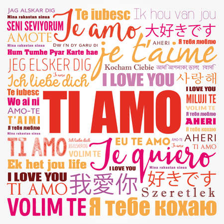 Ti amo (I Love You in Italian) in different languages of the world