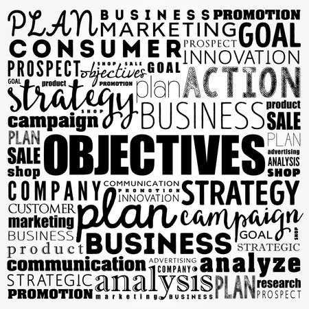 Objectives word cloud collage, business concept background