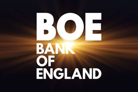 BOE - Bank Of England acronym, business concept background