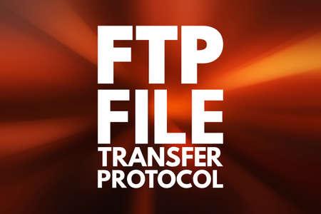 FTP - File Transfer Protocol acronym, technology concept background