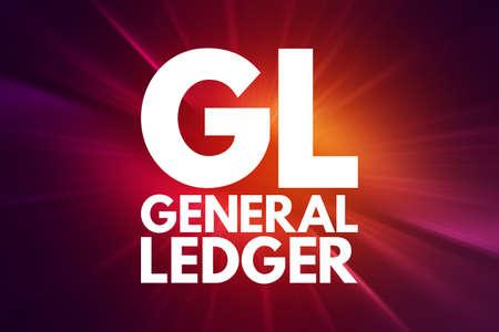 GL - General Ledger acronym, business concept background Foto de archivo