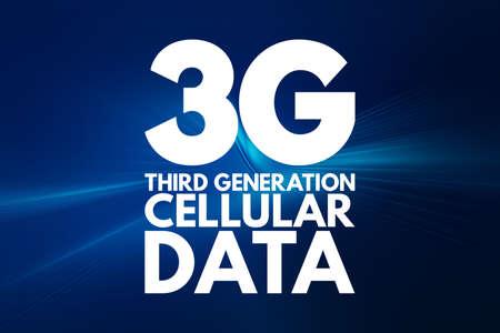 3G Third Generation cellular data text. technology concept background