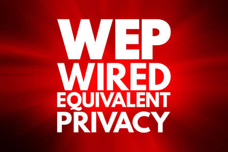 WEP - Wired Equivalent Privacy acronym, technology concept background