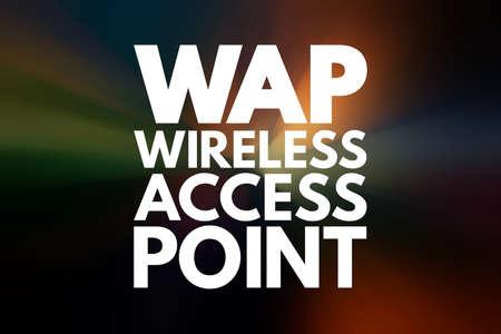WAP - Wireless Access Point acronym, technology concept background