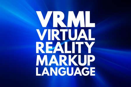 VRML - Virtual Reality Markup Language acronym, technology concept background 写真素材