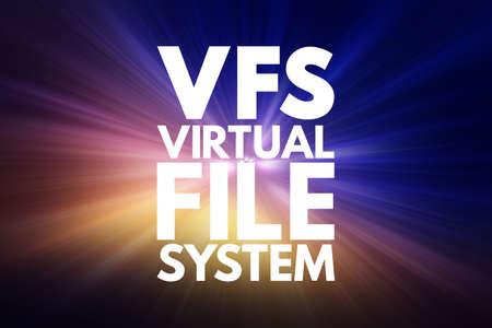 VFS - Virtual File System acronym, technology concept background 写真素材