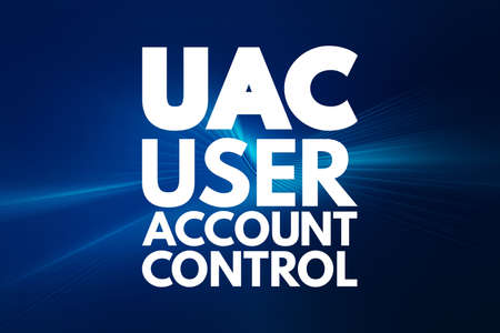 UAC - User Account Control acronym, technology concept background
