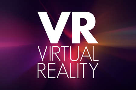 VR - Virtual Reality acronym, technology concept background