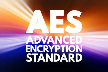 AES - Advanced Encryption Standard acronym, technology concept background