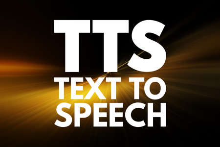 TTS - Text to Speech acronym, technology concept background 写真素材