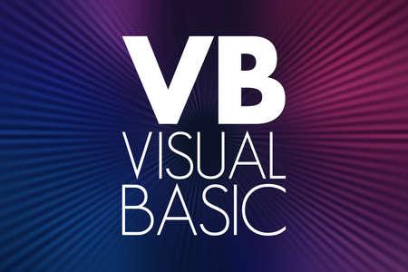 VB - Visual Basic acronym, technology concept background 写真素材