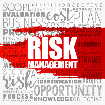 Risk Management word cloud collage, business concept background 写真素材