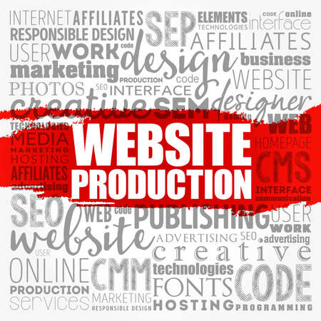 Website production process word cloud, technology concept background