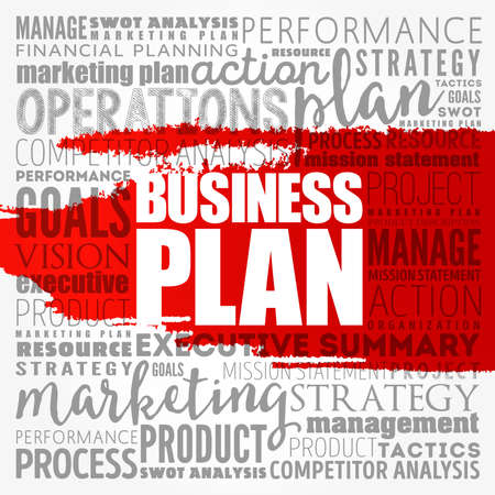 Business plan word cloud collage, business concept background 写真素材